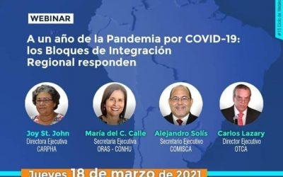 """ORAS-CONHU – Webinario """"A un año de la Pandemia por COVID19: los Bloques de Integración Regional responden"""""""