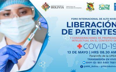 Bolivia organiza el Foro Internacional sobre la Liberación de las Patentes en el Contexto de COVID-19