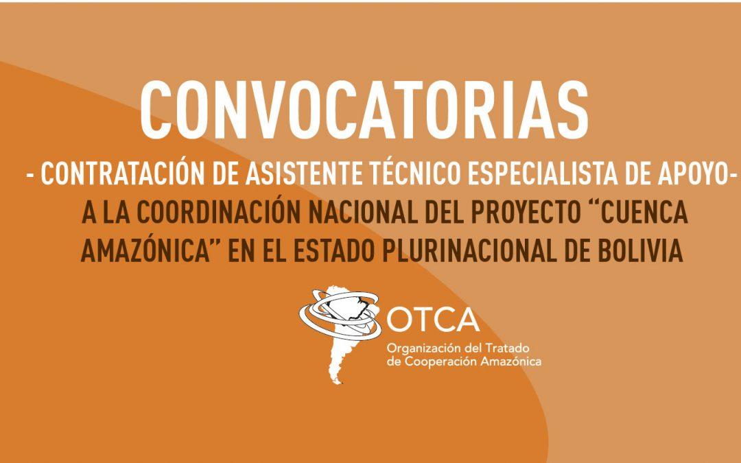 Proyecto Cuenca Amazónica: OTCA está contratando asistente técnico de apoyo en Bolivia
